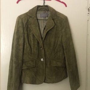 Ann Taylor Green Leather Jacket